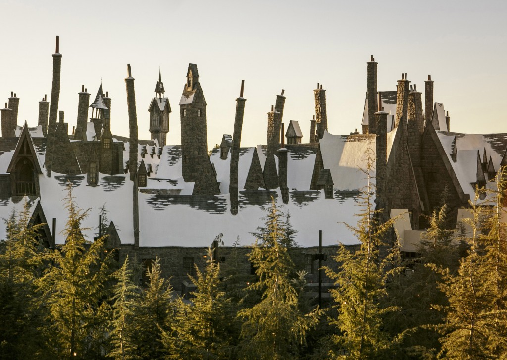 A view of the snow-capped Hogsmeade village