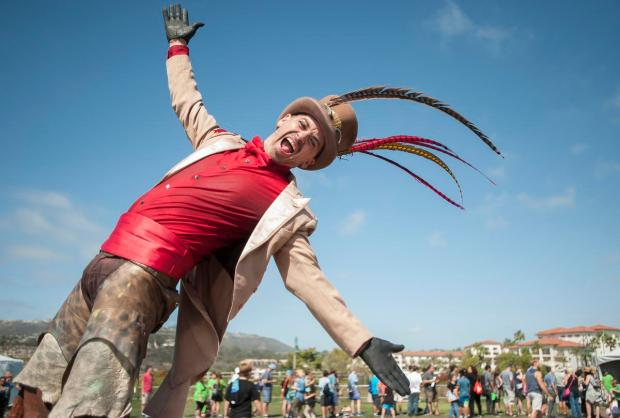 Steampunk Stilt walker Eros Biox adds flair to the Games and Music Festival in Dana Point on Sunday, October  2, 2016 while fans wait in line to get their favorite gamer's autograph.(Photo by Mindy Schauer,Orange County Register/SCNG)